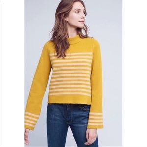 Anthro. Moth Stripe Bell Sleeve Sweater sz S ✨
